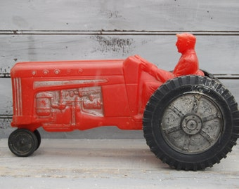 Toy Tractor, Red Tractor, Rubber Tractor, Red Nursery Decor, Farm Nursery Decor, Farm Decor, Red Auto, Farm Decor