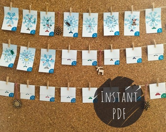 Printable Advent Calendar - DIY Advent Calendar - Christmas Countdown - Snowflake Design