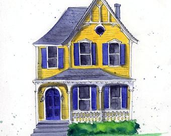 Custom House Illustration - Watercolor Painting