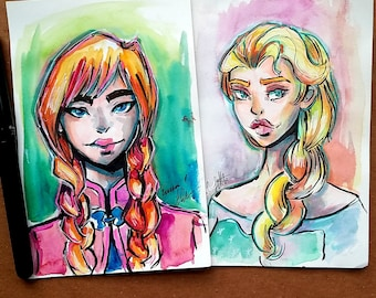 Anna and Elsa Original Watercolor Painting Set