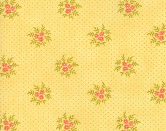 Fig Tree Fabric - Ella and Ollie Fabric Yardage - Moda Quilt Fabric - Yellow Floral Dot Fabric By The 1/2 Yard
