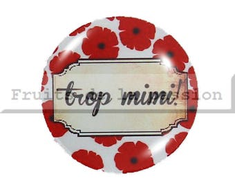 Set of 2 cabochon 18mm round glass, red and white text