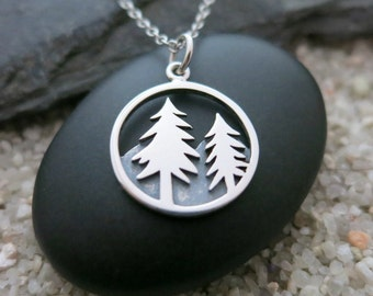 Forest Necklace, Sterling Silver Pine Tree Charm, Nature Jewelry