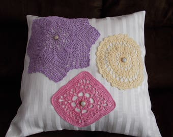 Pillow Cover, Throw Pillow Cover, Upcycled Doily Pillow Cover, 16 x 16 Pillow Cover,  Purple Pink Yellow Ivory Pillow Cover