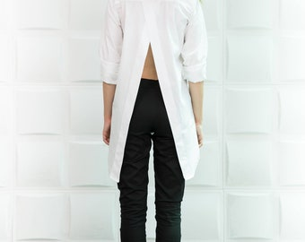 White top White shirt Tunic tops Plus size blouse Plus size clothing White blouse Oversized shirt Boho shirt Boho top Long shirt/B0083
