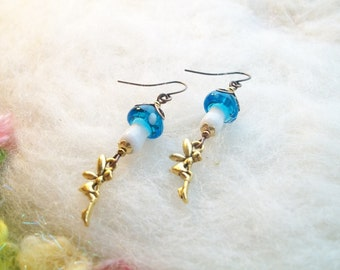 Mushroom Earrings Fairy Magic Enchanting Turquoise Blue Woodland Toadstool Earrings Handmade Beaded Earrings Tiny Golden Fairy Charm