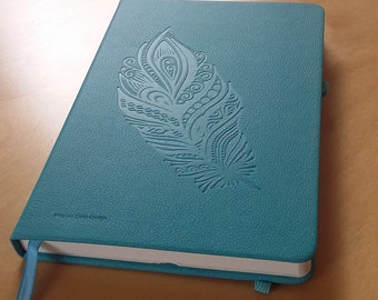 Hand Designed Feather Notebook A5 Textured Journal Embossed Teal