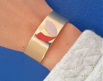 Wide Cuff Bracelet brass and leather