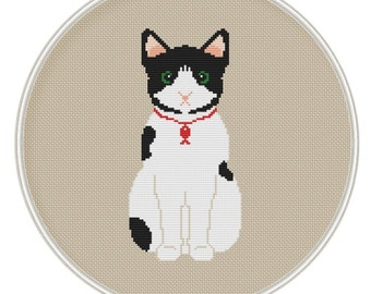 Cute Cat Cross Stitch Pattern,  Instant Download, Free shipping, Cross Stitch PDF, MCS086