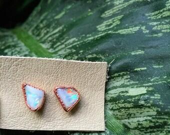 Raw Opal Stud Earrings / Opal Earrings / October Birthstone Jewelry / Copper Stud Earrings / Gift for Friends /