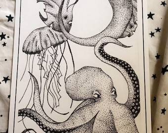 Matte Sea Creatures Art Print/Coloring Page