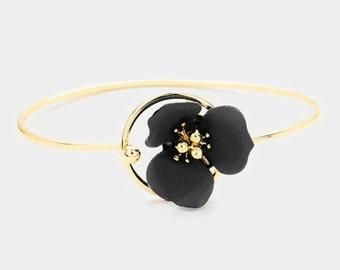 Flower Hook Bracelet Gold/Black