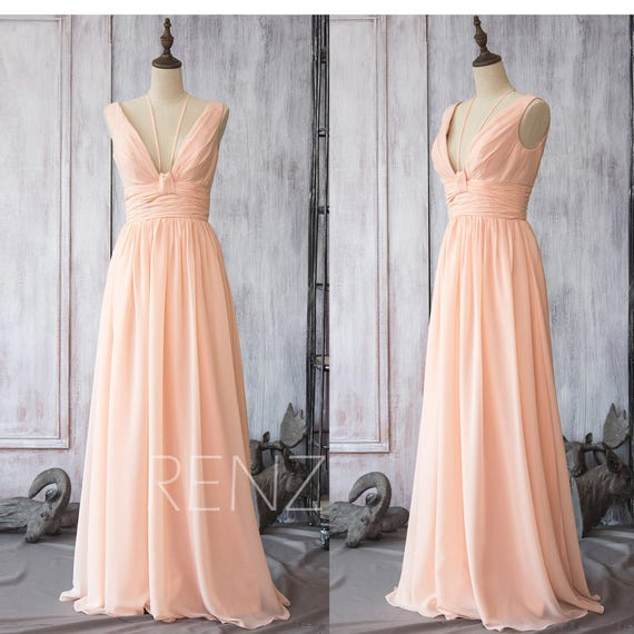 Bridesmaid Dress Peach Chiffon DressWedding DressV Neck