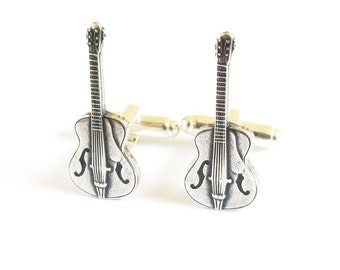 Guitar Cuff Links Sterling Silver Ox Finish Gifts For Men