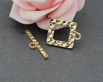 x 2 square gold metal hammered AP130 toggles clasps kits