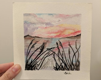 Beach Sunset watercolor Florida art