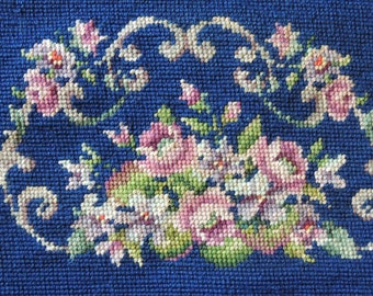 Vintage Unfinished Floral Needlepoint Handbag / Floral Needlepoint / Blue Floral Needlepoint / Floral Needlework / Unfinished Needlepoint
