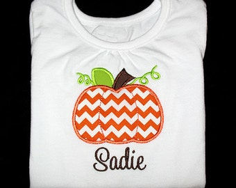Custom Personalized Applique Fall Chevron PUMPKIN and NAME Shirt or Bodysuit - Orange, Lime, and Brown