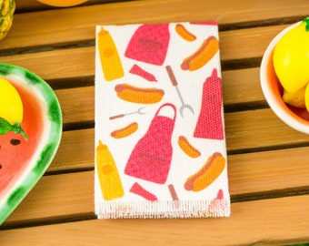 Miniature Hot Dog Heaven Tea Towel - 1:12 Dollhouse Miniature