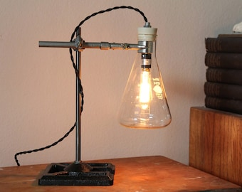 Industrial science lamp gift scientist chemistry decor desk lighting laboratory apothecary biology cool Edison bulb Erlenmeyer flask glass