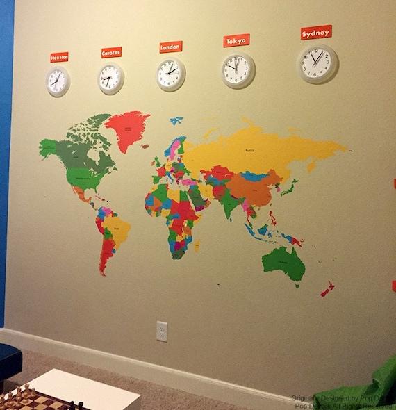 World Map Kids Wall Decals Children Wall Stickers World Map - World wall map kids