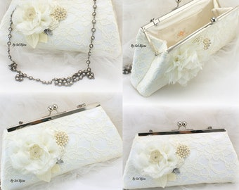 Ivory Wedding Purse Lace Bag with Pearls Vintage Gatsby Style