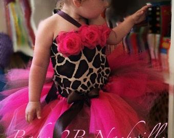 Hot Pink Giraffe Safari First Birthday Set Baby Tutu Costume