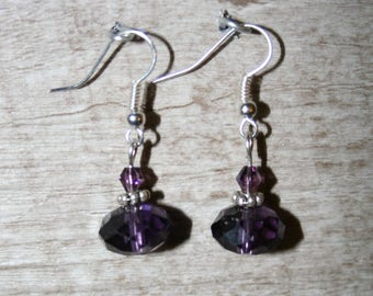 Purple earrings with Crystal beads