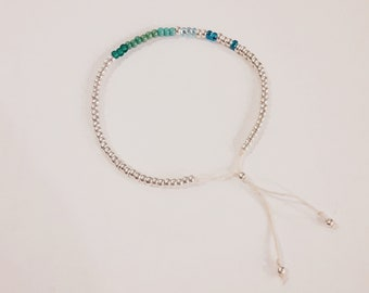 Minimalist Beaded Bracelet - Silver with Hints of Sea-Glass