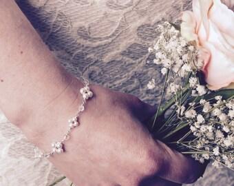 Bridal bracelet, bridal jewellery, wedding bracelet, Swarovski pearl, Swarovski crystal, sterling silver, bride, wedding jewellery, simple