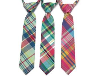 Madras Plaid Boys Necktie~Cotton Necktie~Wedding Tie~Boys Pretied Necktie~Plaid Necktie~Pink~Yellow~Mint~Green~Blue~Easter Tie