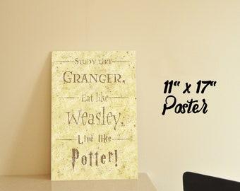 Harry Potter -Inspired- Geek Poster, Wall Art, Gift, Quote, Print, Fandom - Granger, Weasley