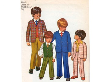 Boys Suit Pattern Boys Blazer Pattern Boys Vest Pattern Boys 3 Piece Suit SIMPLICITY 9651 Size 5 Boys Jacket Pattern Boys Pants Pattern