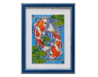 Koi Carp hand embroidered nursery decor good luck gift completed embroidery counted cross stitch framed embroidery gifts for home