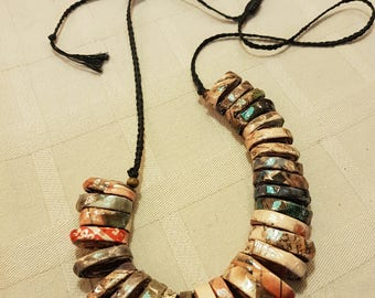 upcycled jewelry, newspaper coiled beads, adjustable length, sliding knot, varnished to protect from humidity