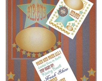 Vintage Circus Poster Printable Pack ~ Gold Blue Stars, Victorian Old Fashioned Carnival Booth Signs, Labels ~ 5 Files ~ Party Decorations