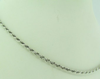 "14 K white gold rope chain. 19.5"" long."