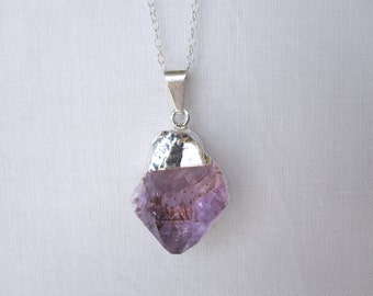 Sterling Silver Amethyst Electroplated Charm Necklace - Unique One of a Kind Layering Jewelry - Stone Healing - Crystal Bohemian Necklace