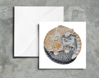 Blank Greeting Cards - Set of 5 - Kittens Art Print