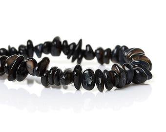 PA81 - Set of 30 shell beads shape irregular black reflection Pearl 10mm x 6mm - 5mm x 5mm