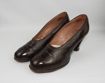 1940's CC41 Wartime Dolcis Debutante Brown Leather Court Shoes - UK Size 4 4.5