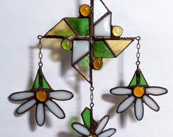 Stain glass pendant etsy stained glass pendant mobile daizy pinwheel handmade home decor dizartex aloadofball Gallery
