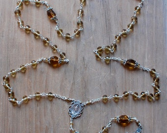 Whiskey Quartz and Sterling Silver Rosary