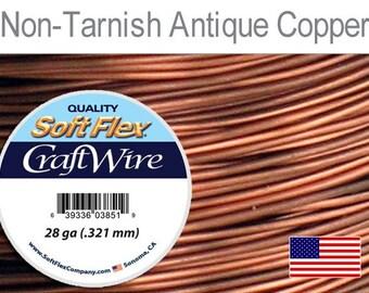 28 Gauge Non Tarnish Antique Copper Wire, Soft Flex, Round, Supplies, Findings, Craft Wire