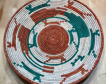 Orange, Teal and White Hand Woven Sea Grass Basket #312 // woven wall basket // woven wall art // wall basket