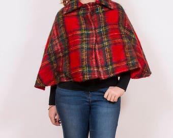 Vintage Handmade Wool Tartan Poncho Shawl - www.brickvintage.com