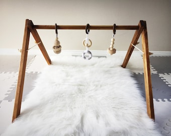 Wood Baby Gym - Infant Activity Center - Wood and 100 Percent Cotton Toys - Natural Dark Stain and Non-Toxic Organic Wax - New Baby Gift