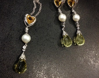 9ct white gold earring and pendant set, with diamond,  citrine, cultured pearl and lemon quartz REDUCED PRICE