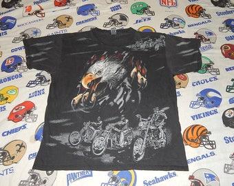 All Over Print American Biker Shirt - Distressed - Harley Davidson 1980s sz L Eagle Tear-Out