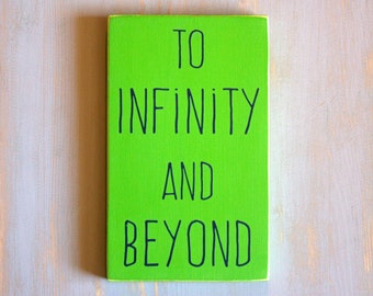 To Infinity and Beyond Lime Green and Navy Blue Painted Wood Sign, Boys Decor, Sign for Boys Rooms, Space Sign